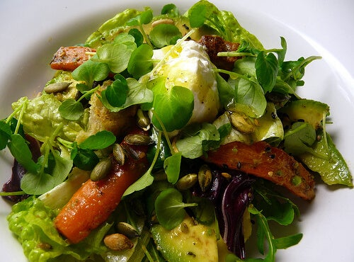 Roast carrot and avocado salad with citrus dressing and sour cream