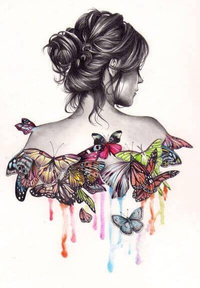 kadın ve kelebek resmi
