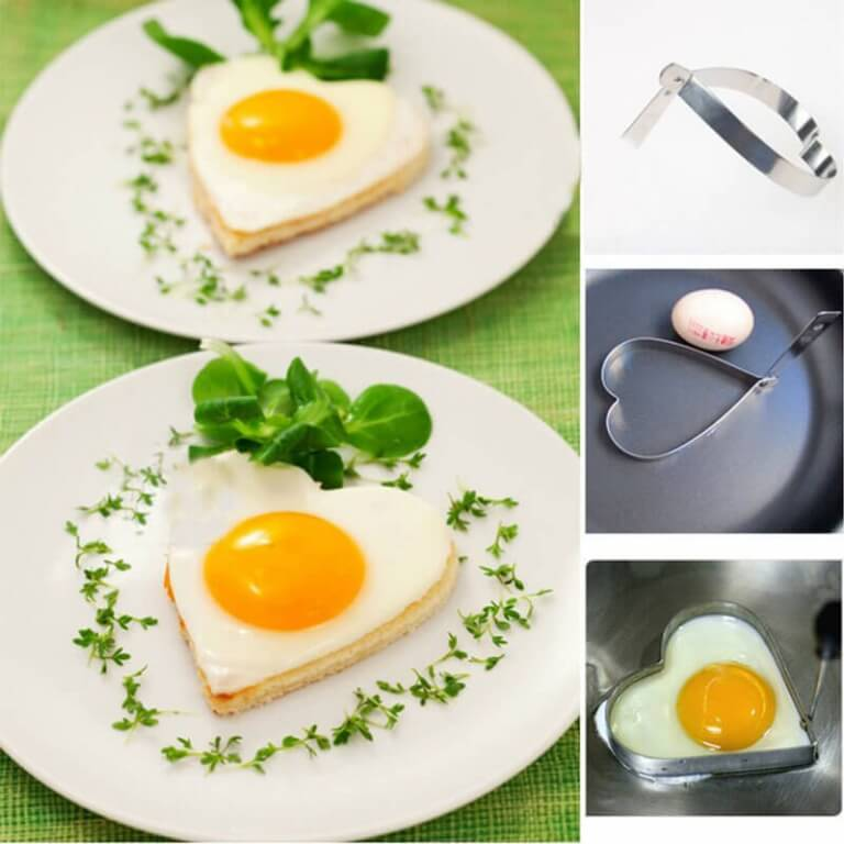 tabak içinde yumurtalar ve kalp şeklinde kalıp