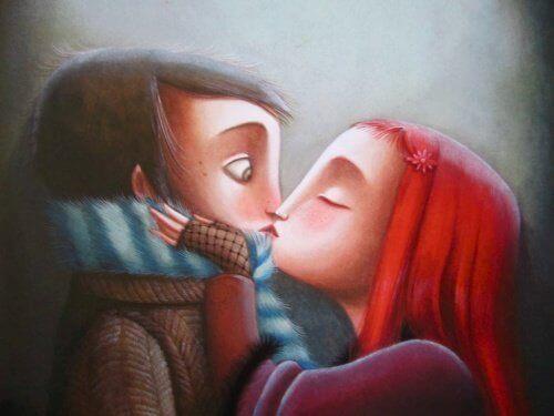 öpüşen çizgi karakter çift