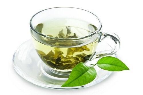 yeşil çay ve yaprakları