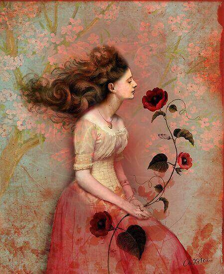çiçek tutan kadın resmi