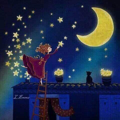 gökyüzüne yıldız asan kadın