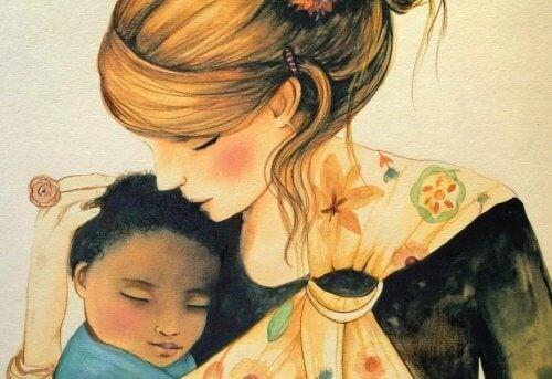 sarılan anne ve çocuk
