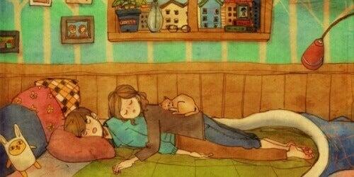 beraber uyuyan çift
