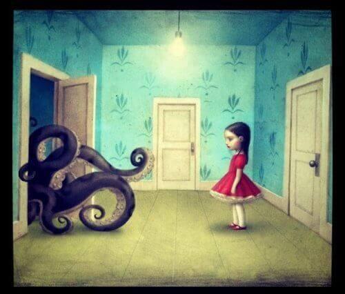 kötü insanları temsil eden ahtopota bakan kız