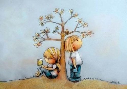 çocuklar ve ağaç