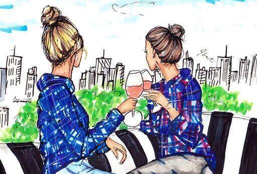kız kardeşler şarap çizim