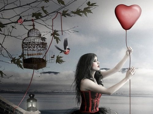 kalpten balon kuşlar ve kadın