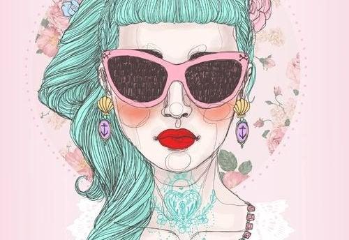 gözlüklü kız resmi