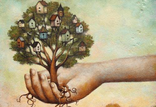 elinde ağaç resmi