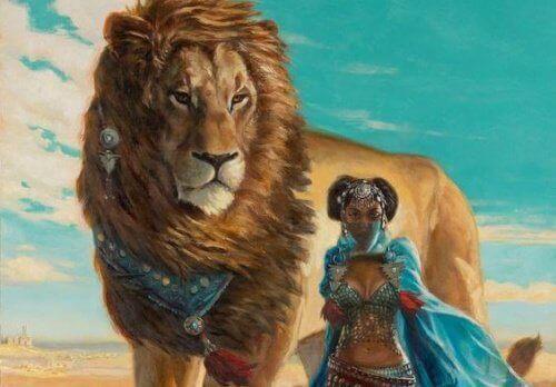 aslan ve kadın