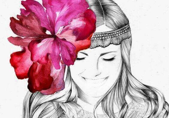 kadın ve pembe çiçek
