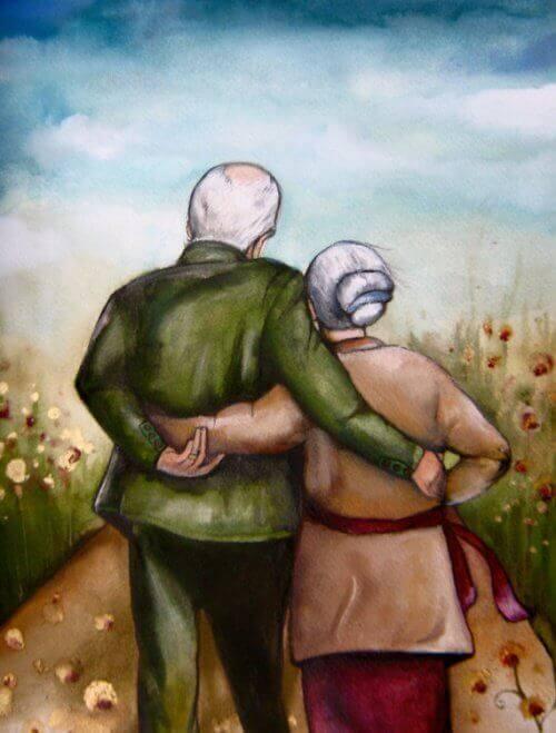 sarılarak yürüyen yaşlı çift