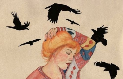 kadın figürü ve kuşlar