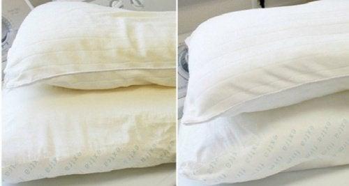 sarı yastıkları beyazlatmak