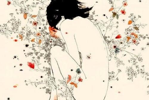 çiçekler ve kadın