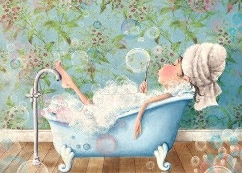 köpüklü banyo çizim