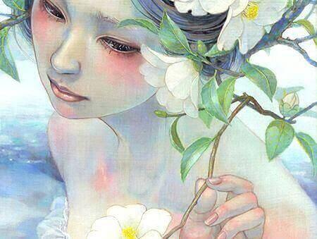 kadın ve çiçek resmi