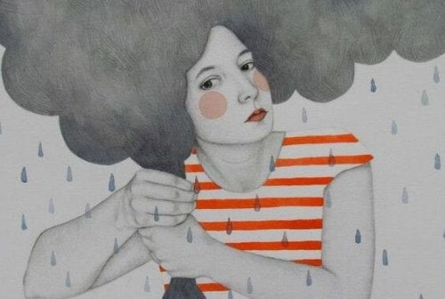 kadın ve bulutlar