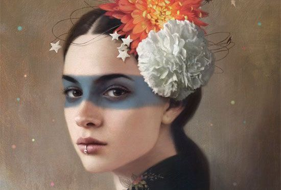 kafasında çiçek olan kadın