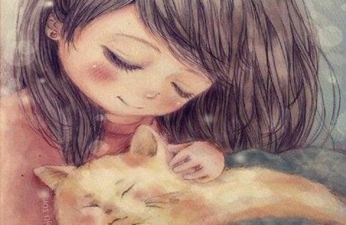 çocuk ve kedi resmi