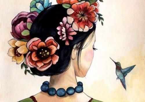 saçları çiçekli kadın ve kuş