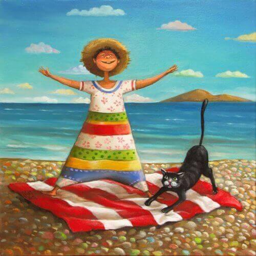 sahilde kadın ve kedi çizimi
