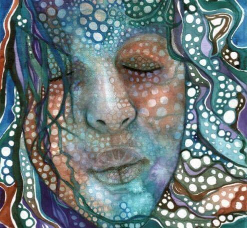 gözleri kapalı kadın çizimi