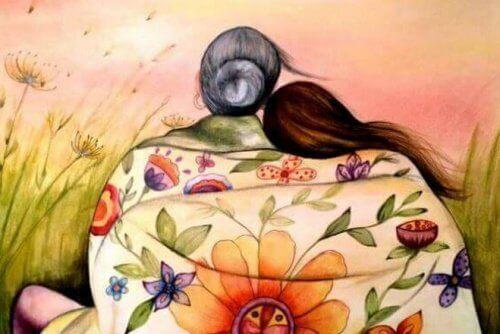 arkası dönük yaşlı ve genç kadın çizimi