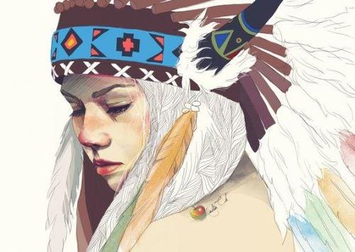 kızılderili kadın çizim