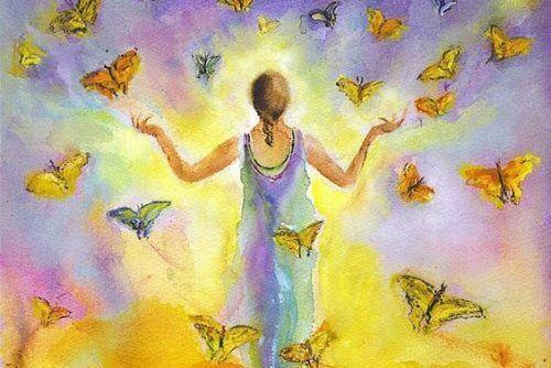 kelebekler ve kadın resmi