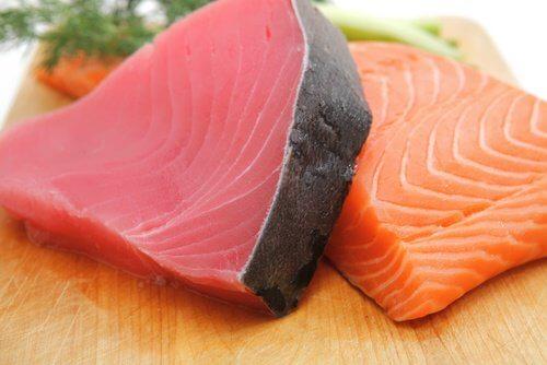 çiğ ton ve somon balığı