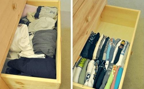tişörtleri çekmeceye dik koymak