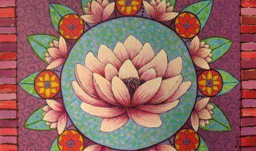 çiçek çerçeveli nilüfer çizimi