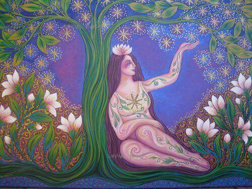ağacın altına oturmuş kadın çizimi
