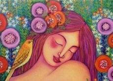 saçlarında çiçekler olan kadın ve kuş