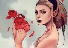 çiçekler tutan kadın