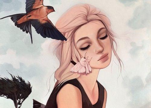 kuşlar ve kadın
