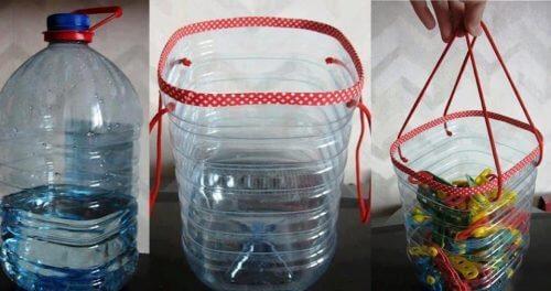 plastik şişelerden sepet yapmak