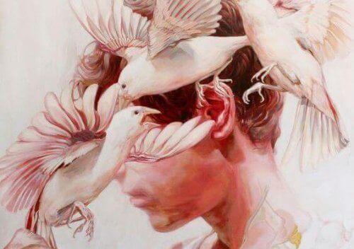 üzgün adam ve kuşlar kırmızı resim