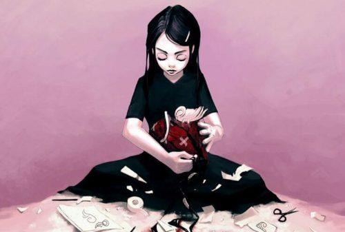 siyah elbiseli kız resmi