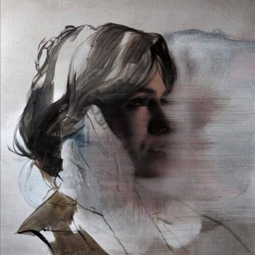 soyut sanat üzgün kadın