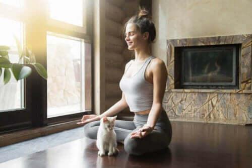 şömine önünde kedisi ile birlikte meditasyon yapan kadın