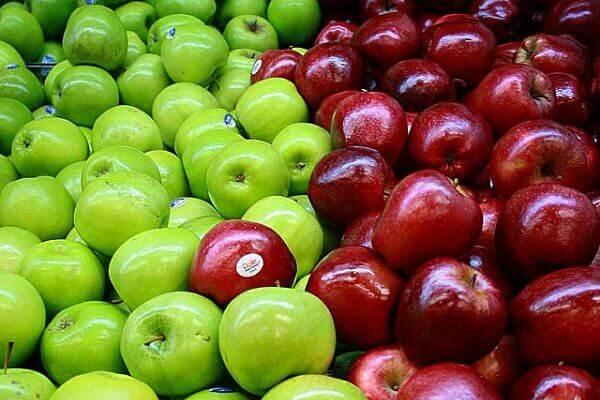 yesil ve kirmizi elma