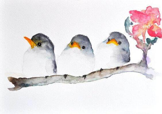 sulu boya kuş resmi