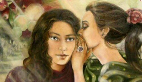 sırları fısıldayan kadın