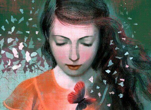 kelebek ve kadın resmi