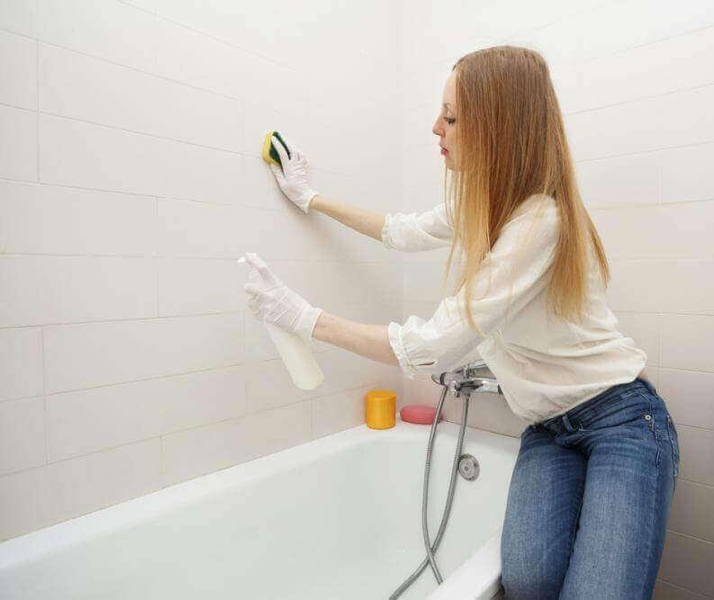 tuvaleti temizleyen kadın