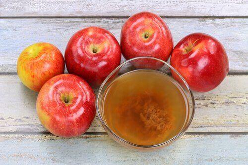 elma sirkesi ve meyvesi